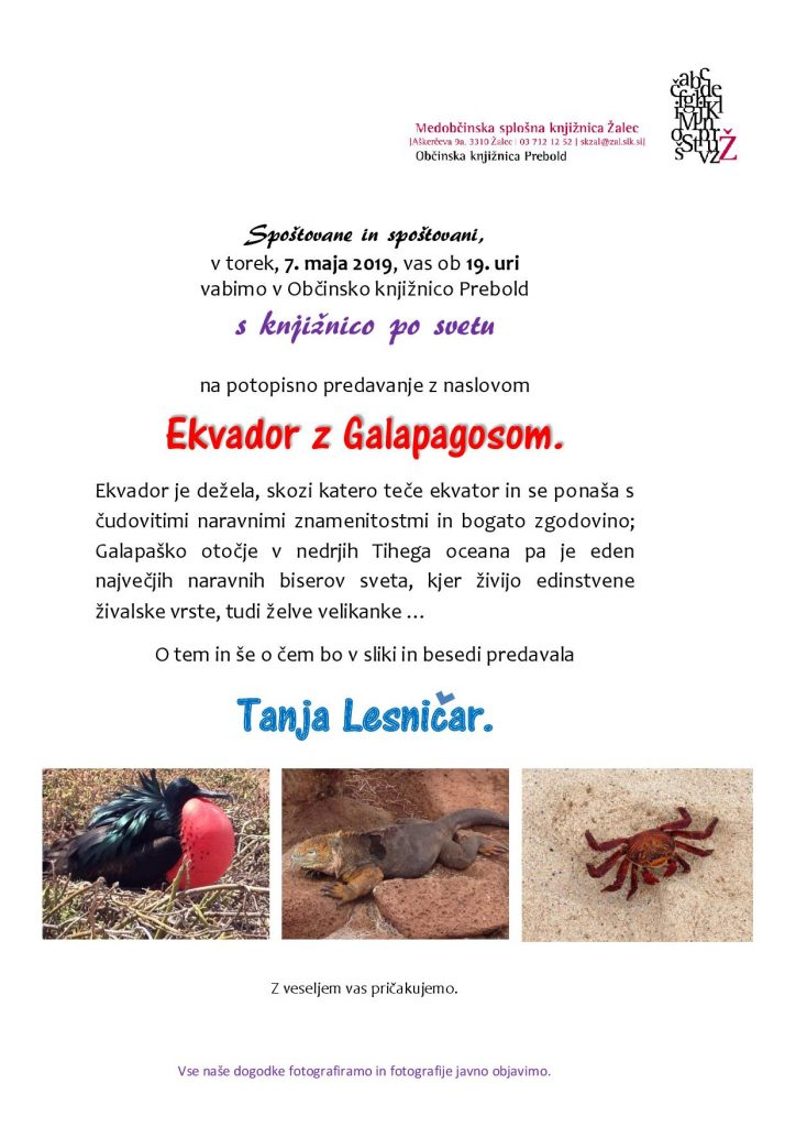 Vabilo Tanja Lesničar Ekvador z Galapagosom 001 724x1024 - KNJIŽNICA PREBOLD: Predavanje Ekvador z Galapagosom